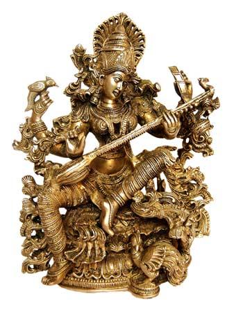 சரஸ்வதி பூஜை, ஆயுதபூஜை வாழ்த்துகள் 4446c-brass-saraswati-statue